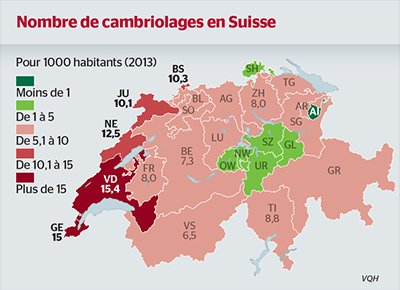 carte des cambriolages en Suisse